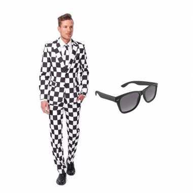 Zwart/wit geblokt heren carnavalskleding maat (l) gratis zonnebril ro