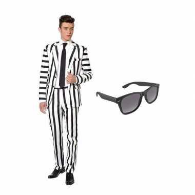 Zwart/wit gestreept carnavalskleding maat (m) gratis zonnebril roosen