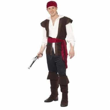 Zwart/wit/rood piraten carnavalskleding heren roosendaal