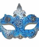Carnavalskleding blauw oogmasker bloemen roosendaal