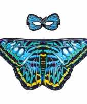 Carnavalskleding blauwe aurelia vlinder verkleedset meisjes roosendaal