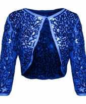 Carnavalskleding blauwe glitter pailletten disco bolero jasje dames roosendaal
