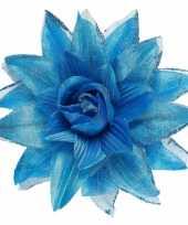 Carnavalskleding blauwe haarbloem glitters roosendaal