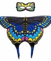 Carnavalskleding blauwe zwaluwstaart vlinder verkleedset meisjes roosendaal