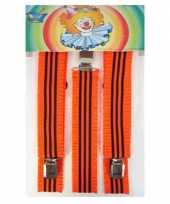 Carnavalskleding bretels fluor gestreept oranje roosendaal