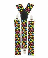 Carnavalskleding bretels gekleurde stippen roosendaal