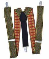 Carnavalskleding bretels rood groen kruispatroon roosendaal