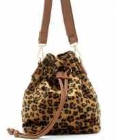 Carnavalskleding bruin zwart luipaardprint schoudertasje bucket bag roosendaal