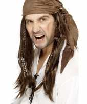 Carnavalskleding bruine piratenpruik bandana heren roosendaal