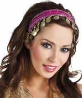 Carnavalskleding buikdanseres hoofdband diadeem fuchsia roze dames verkleedaccess roosendaal