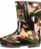 Carnavalskleding camouflage meiden regenlaarzen hartjes roosendaal
