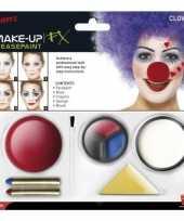 Carnavalskleding clown schmink set inclusief clownsneus roosendaal