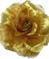 Carnavalskleding corsage gouden glitter bloem accessoire roosendaal