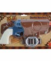 Carnavalskleding cowboy revolver blauw holster roosendaal