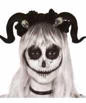 Carnavalskleding diadeem tiara zwarte hoorns doodshoofden roosendaal