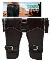 Carnavalskleding dubbele cowboy holster donkerbruin brede riem verkleed acces roosendaal