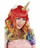 Carnavalskleding eenhoorn regenboog pruik roosendaal