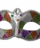 Carnavalskleding gekleurd oogmasker glitters roosendaal
