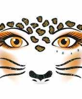 Carnavalskleding gezicht stickers luipaard vel roosendaal