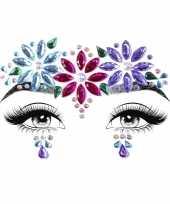 Carnavalskleding gezichtsjuwelen hippie verkleed sticker set zelfklevend roosendaal