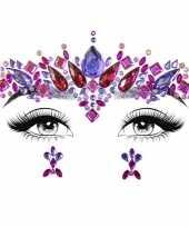 Carnavalskleding gezichtsjuwelen prinses verkleed sticker set zelfklevend roosendaal