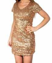 Carnavalskleding gouden glitter pailletten disco jurkje dames roosendaal
