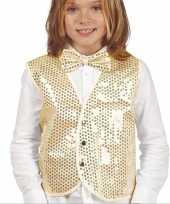 Carnavalskleding gouden verkleed gilet pailletten kinderen roosendaal