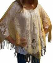 Carnavalskleding gouden visnet poncho omslagdoek stola dames roosendaal