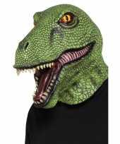 Carnavalskleding groen dinosaurus masker volwassenen roosendaal