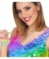 Carnavalskleding grote gekleurde hippie ketting vredesteken roosendaal