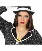 Carnavalskleding grote gouden dollar ketting verkleed accessoire volwassenen roosendaal
