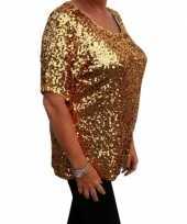 Carnavalskleding grote maten gouden glitter pailletten disco shirt dames xl roosendaal
