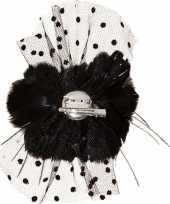 Carnavalskleding haar clip zwarte bloem gaas roosendaal