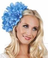 Carnavalskleding haarbloem blauwe dahlia clip roosendaal
