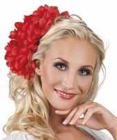 Carnavalskleding haarbloem rode dahlia clip roosendaal