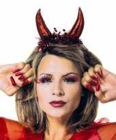 Carnavalskleding halloween duivel diadeem metallic rood roosendaal