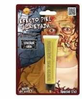 Carnavalskleding halloween gebarsten huid schmink geel gram roosendaal