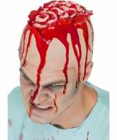 Carnavalskleding halloween latex hoofdkap openliggende hersenpan roosendaal