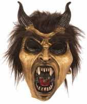 Carnavalskleding halloween latex horror masker duivel goud roosendaal