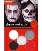 Carnavalskleding halloween schminkset rood zwart grijs wit roosendaal