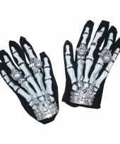 Carnavalskleding halloween skelet handschoenen licht roosendaal