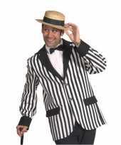 Carnavalskleding heren colbert zwart wit gestreept roosendaal
