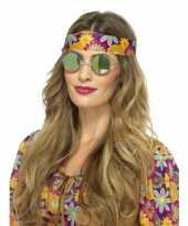 Carnavalskleding hippie bril groene spiegelglazen volwassenen roosendaal