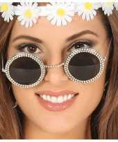 Carnavalskleding hippie flower power verkleed zonnebril ronde glazen roosendaal