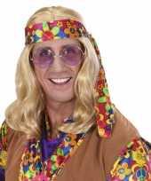 Carnavalskleding hippie pruik lang blond haar roosendaal