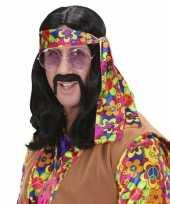 Carnavalskleding hippie pruik lang zwart haar roosendaal