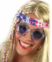 Carnavalskleding hippie verkleed bril blauwe glazen volwassenen roosendaal