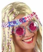 Carnavalskleding hippie verkleed bril roze glazen volwassenen roosendaal