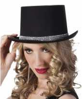 Carnavalskleding hoge hoed zwart steentjes dames roosendaal
