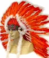 Carnavalskleding indianen hoofdtooi rood oranje roosendaal